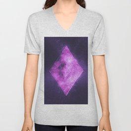 Diamond symbol. Playing card. Abstract night sky background Unisex V-Neck
