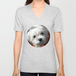Cute Maltese asking for a treat Unisex V-Neck
