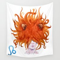 leo Wall Tapestries featuring Leo by Aloke Design