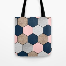 Navy and peach marble and foil hexagons Tote Bag