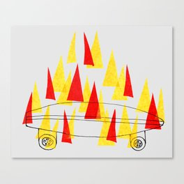 Flaming Skateboard Canvas Print