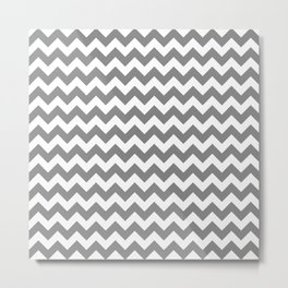 CHEVRON DESIGN (GREY-WHITE) Metal Print