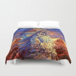 native american colorful portrait Duvet Cover