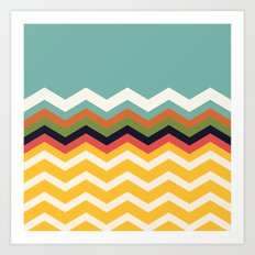 Retro Chevrons (blue and yellow) Art Print