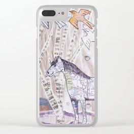 Snowy Evening Woods Clear iPhone Case