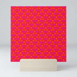 Chaotic pattern of dark pink rhombuses and orange triangles in a zigzag. Mini Art Print