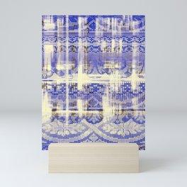 needlepoint sampler in blues Mini Art Print