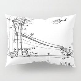 Drum Pedal Patent - Drum Set Art - Black And White Pillow Sham