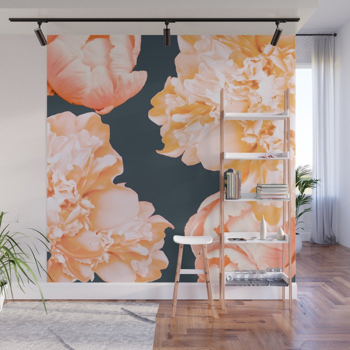Peach Colored Flowers Dark Background Decor Society6 Art Wall Mural