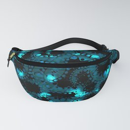 blue pattern of soap bubbles and gears in azure Fanny Pack