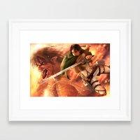 levi Framed Art Prints featuring Captain Levi by Nikittysan