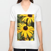dentist V-neck T-shirts featuring Happy Flowers by IowaShots