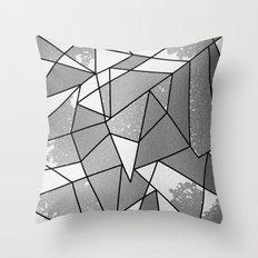 Cool Modern Black & Gray Distressed Geometric Pattern Throw Pillow