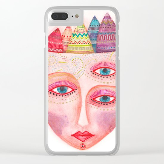 girl with the most beautiful eyes mask portrait Clear iPhone Case