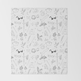 Magic School - book, wizard, witch, witchcraft, spells, houses, glasses, scar, sword, ra Throw Blanket