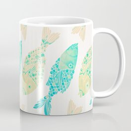 Indonesian Fish Duo – Turquoise & Cream Palette Coffee Mug