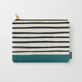 Dark Turquoise & Stripes Carry-All Pouch