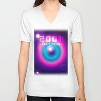 2001 a space odyssey V-neck T-shirts featuring 2001 a Space Odyssey by Scar Design