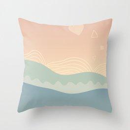 Minimalist & Abstract Landscape Sunset Throw Pillow