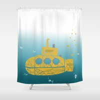 yellow submarine Shower Curtains featuring YELLOW SUBMARINE by ARCHIGRAF