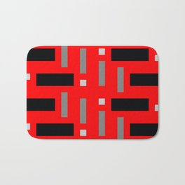 Pattern of Squares in Red Bath Mat