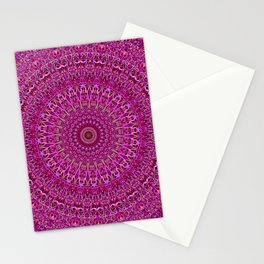 Hot Pink Floral Mandala Stationery Cards