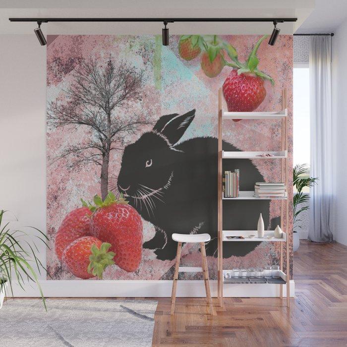 Black Rabbit and Strawberries Wall Mural