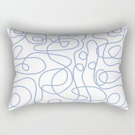 Doodle Line Art | Periwinkle Lines on White Background Rectangular Pillow