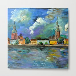 A Night of Color in Riga Metal Print