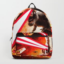 Laser Eyes Space Cat Riding Dog And Dinosaur Backpack