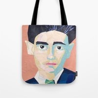 kafka Tote Bags featuring Franz Kafka by Ellen Pater