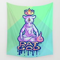 rat Wall Tapestries featuring Rat God by The Savvy Cat