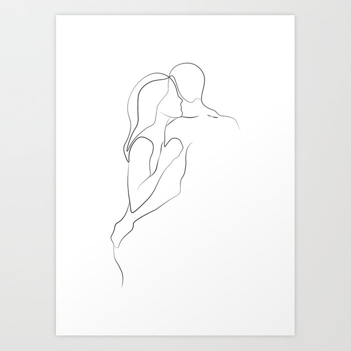 Lovers - Minimal Line Drawing Art Print3 Art Print
