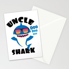 Uncle Shark design Gift - Cute Baby Shark Matching Family Stationery Cards
