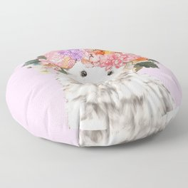 Baby Polar Bear with Flowers Crown Floor Pillow