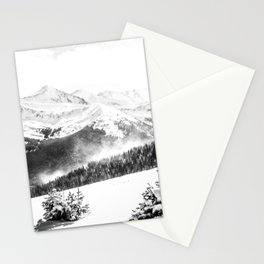Fresh Snow Dust // Black and White Powder Day on the Mountain Stationery Cards