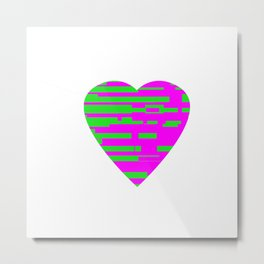 Glitching Hearts — Pink and Green Metal Print