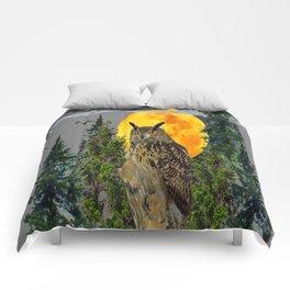 OWL WITH FULL MOON & PINE TREES GREY ART Comforters
