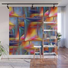 Mirrored Metallic Tile Fire Colors Wall Mural