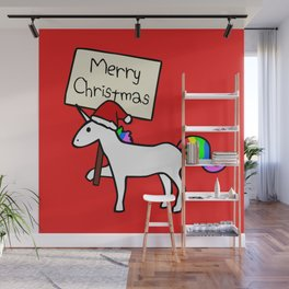 Merry Christmas Unicorn (Red Background) Wall Mural