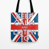 "coldplay Tote Bags featuring ""Keep Calm and Listen to Coldplay""-Union Jack by Fabfari"