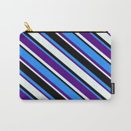 Blue, Indigo, Mint Cream, and Black Colored Lined/Striped Pattern Carry-All Pouch