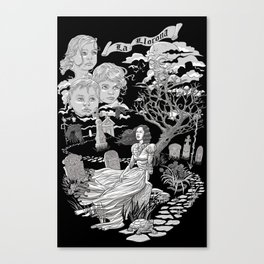 Hispanic Legend La Llorona (black and white) Canvas Print