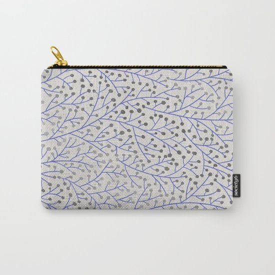 Silver & Periwinkle Berry Branches Carry-All Pouch