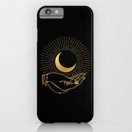 Black & Gold La Lune In Hand iPhone Case