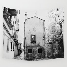 Venice, Italy, Film Photo, Analog, Black and White Wall Tapestry