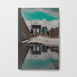 Brooklyn in a Puddle Metal Print