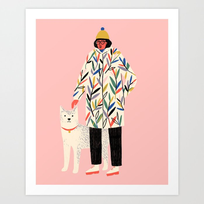 Girl with Dog Art Print