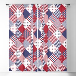 Red White & Blue Patchwork Quilt Blackout Curtain