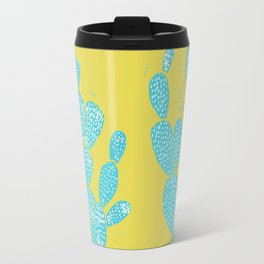Linocut Cactus #1 Desert Blue Travel Mug